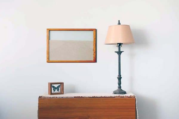 cherry natural wood frame ant farm hanging on wall