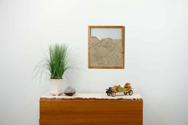 oak natural wood frame ant farm hanging on wall