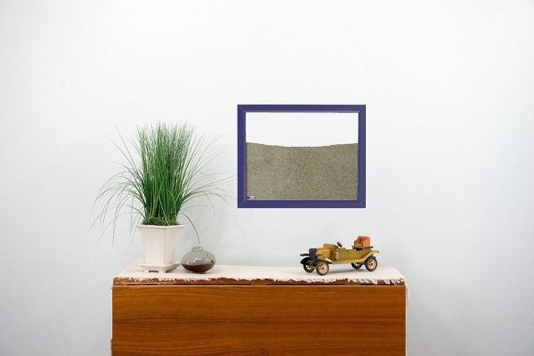 purple painted wood frame ant farm hanging on wall