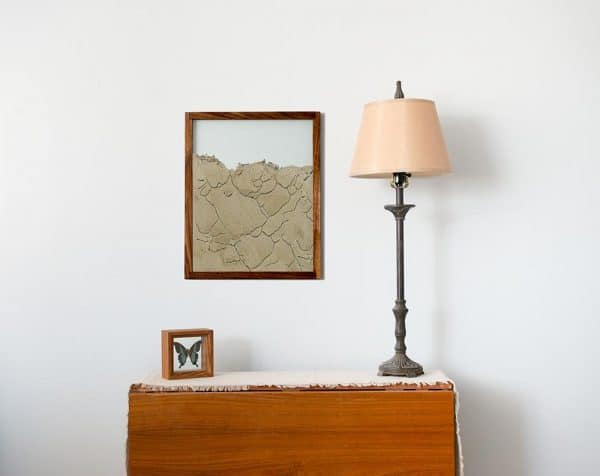 walnut natural wood frame ant farm hanging on wall